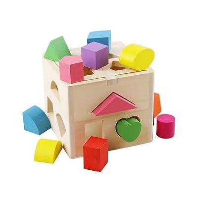 KanCai Toys Cubo con Formas para Encajar, Juguete Educativo de Madera a Partir de clasificar Formas Juguetes Educativos Colorido Madera Geometría Puzzle Bloque de Construcción: Juguetes y juegos