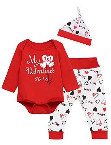 Baby Boys Girls Outfit Clothes Set My First Valentine's Day Long Sleeve Bodysuit (3-6 Months)
