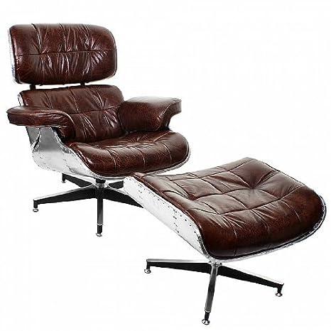 Aviador de piel posan + taburete Industrial sillón Vintage ...