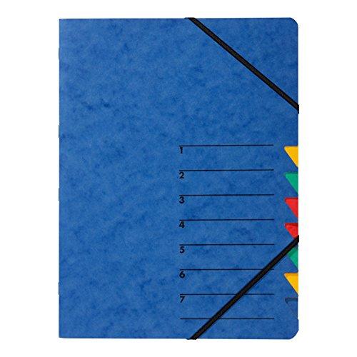 Pagna 24061-02 Ordnungsmappe Easy, Pressspan, A4, 7 Fächer, buntes Register, Einband Blau