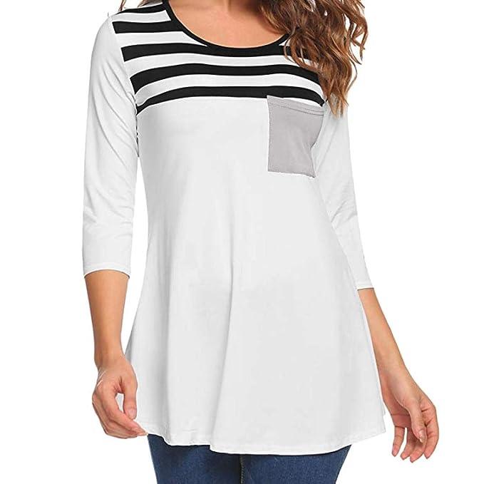 Bestow Camisa de tš²nica de Bolsillo Blusa de Rayas con Paneles de Bolsillo Camiseta de Manga Larga para Mujeres de Rayas: Amazon.es: Ropa y accesorios