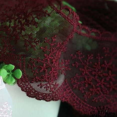 14yds Broderie anglaise en maille à œillets Bordure en dentelle 7.5cm Yh1009 rose