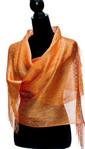 Shawls and Wraps for Evening Dresses - Sheer Bridal Womens Scarves for Prom, Wedding, Party - Scarfs for Women with Fringe by Petal Rose - (Orange Wrap)