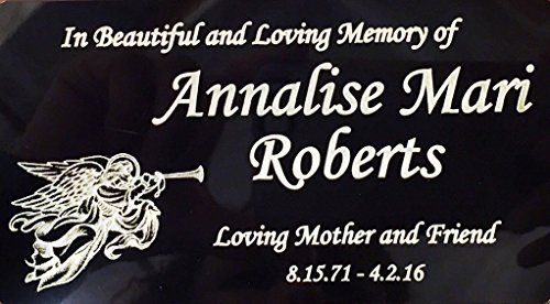 (Engraved Plaque, Plate, Name Plate in brass Black and Gold with Angel)