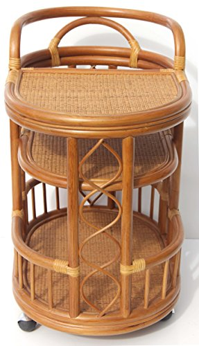 Moving Serving Cart Bar Table Natural Rattan Wicker Exclusive Handmade ECO, Cognac by SunBear Furniture (Image #4)'