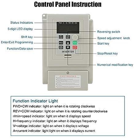 1pc Wechselstrom Vfd Antrieb Vfd Inverter 220v 1 5kw Frequenzumrichter Carrier Einstellbare Für Motordrehzahlregelung Baumarkt