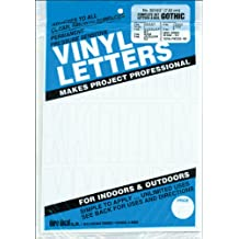 """Duro Decal Permanent Adhesive Vinyl Letters & Numbers: 3"""" Gothic White"""