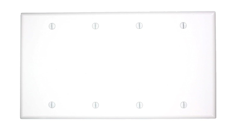 Standard Size Box Mount Thermoset White Leviton 88064 4-Gang No Device Blank Wallplate