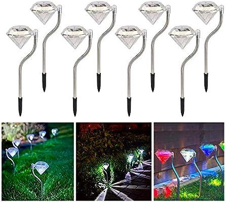 Luces LED Focos Solares Para Jardín, Luces de Estaca de Diamantes ...