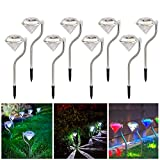 Solar Lights Outdoor Decorative Diamond Shape LED Garden Stake Lights Landscape Lights for Patio Yard Walkway Pathway Decor, Pack of 8