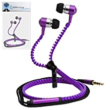 Purple Premium 3.5mm Aluminium ZIPPER In Ear Stereo Wired Headset Hands Free Headphones with Built in Mic Microphone and On Off Button For Samsung GC100 Galaxy Camera
