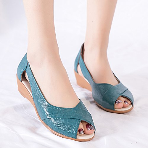 Flat Green Summer Heel Dichotomanthes Mouth Soft Bottom Female Mother Fish Forty With Shoes Soled Shoes Comfortable KHSKX Shoes Sandals two qS5wdq