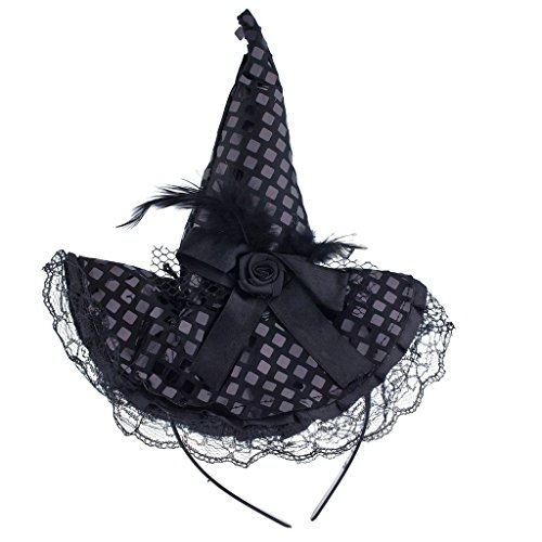 Lux Accessories Halloween Black Purple Lace Flower Feather Witch Hat Headband