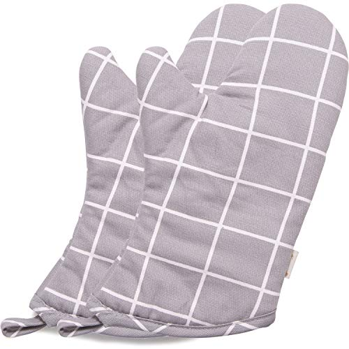 (NEOVIVA Heat Resistant Oven Mitts for Everyday Kitchen, Cotton Oven Mitt Set of 2 for Adults, Nordic Plaid Silver Gray)