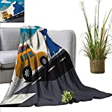 AndyTours Weighted Blanket for Kids Explore,Winter Season Design Mountain Road Ski Holiday Themed