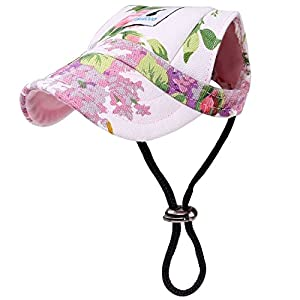 PAWABOO Dog Baseball Cap, Adjustable Dog Outdoor Sport Sun Protection Baseball Hat Cap Visor Sunbonnet Outfit with Ear Holes for Puppy Small Dogs, Small Size, Floral Purple