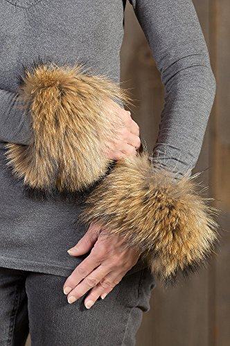 Womens Finn Raccoon Fur Snap Cuffs