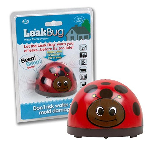 Detects Water - Water Alarm- Leak Bug Flood Detector detects as little as 1/32 Inch of Water- Electronic Overflow Alert Sensor Beeps When Battery is Low