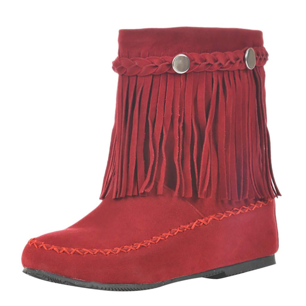 HTHJSCO Women Fringed Boots Matte Suede Short Boots Solid Color Flat with Increased Cowboy Under Knee High Boots Shoes