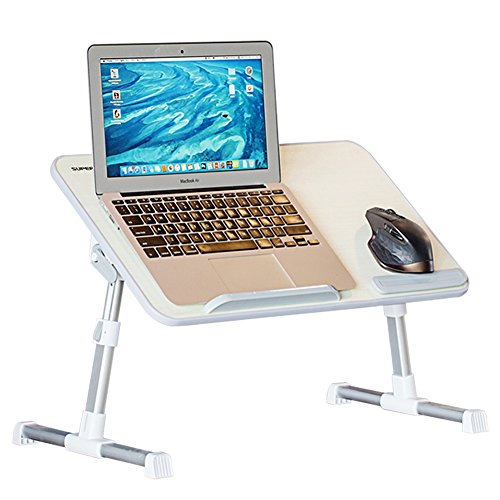 Adjustable Laptop Table, Superjare Portable Standing Desk, Notebook Stand Reading Holder For Couch Floor, Bed Tray Table with Foldable Legs - Beige Image