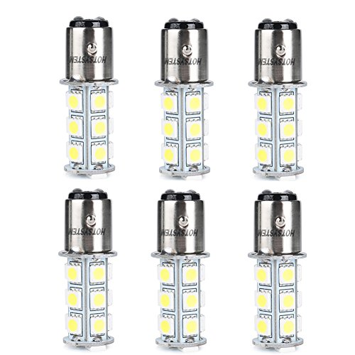 HOTSYSTEM 1157 LED Light Bulbs DC12V BAY15D P21/5W 2357 18-5050SMD for Car RV SUV Camper Trailer Trunk Interior Reversing Backup Tail Turn signal Corner Parking Side Marker Lights(White,Pack of 6)