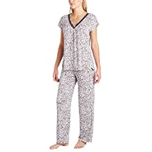 Carole Hochman Midnight Ladies 2-piece Modal Pajama Set, Gray White, Large