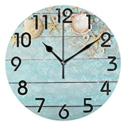 Naanle 3D Beautiful Summer Style Starfish Seashells on Wooden Background Round Wall Clock Decorative, 9.5 Inch Battery Operated Quartz Analog Quiet Desk Clock for Home,Office,School