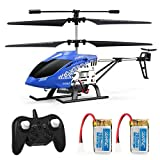 JJRC JX01 3.5 Channel 2.4GHz Rc Helicopter with Gyro, Altitude Hold, LED Light for RTF Crash Resistance, Altitude Hold Toy Helicopter with 2 Batteries for Kids/ Adults (Blue)