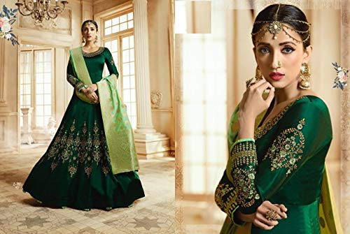 Banarasi Bollywood Ethnic Anarkali Salwar Silk Long Green 7548 Designer Barfi Indian Kameez Dupatta Jacquard Gown xHTnP