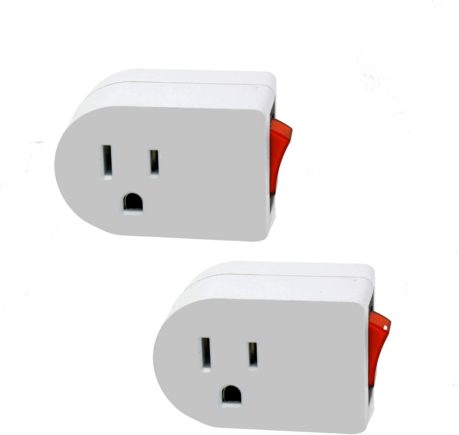 Wideskall White Grounded On/Off Power Switch with Red Light 3 Prong AC Wall Plug Tap Adapter ETL Certified (Pack of 2)