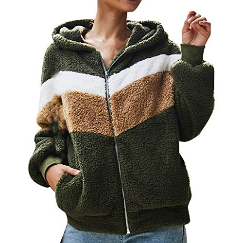 iHHAPY Women's Plush Coat Hooded Jacket Long Sleeve Hoodies Winter Short Coat Zipper Sport Jacket Warm Outwear Patchwork (Polizei-designer)
