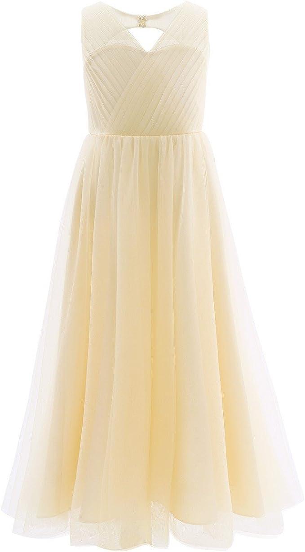 iEFiEL Kinder Mädchen Festliche Kleider Brautjungfer Hochzeits Kleid  Blumenmädchenkleider Partykleid Festzug 17-17