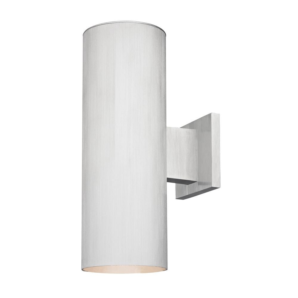 Up/Down Cylinder Outdoor Wall Light in Brushed Aluminum Finish