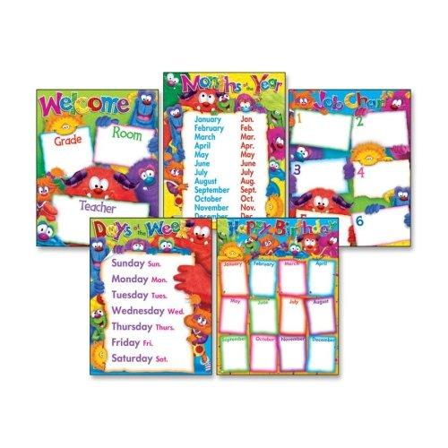 Wholesale CASE of 15 - Trend Classroom Basics Furry Friends Chart Combo-Learning Chart Combo Pack, Fury Friend, Charts, Multi