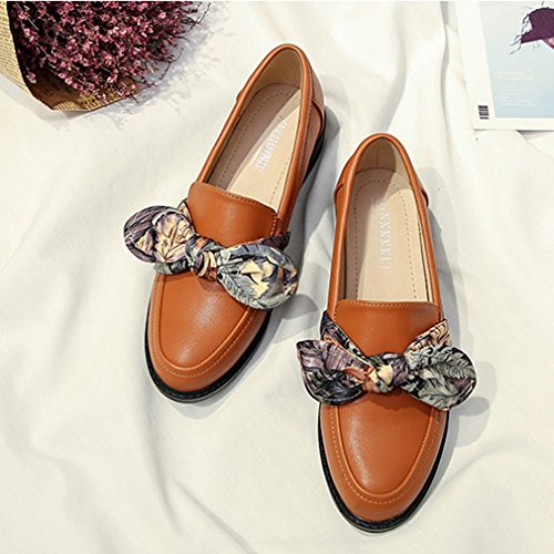 Dames Klassieke Penny Loafers Instapper Casual Laag Plat Ronde Neus Comfortabele Jurk Retro Oxford Schoenen Bruin