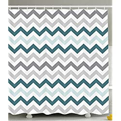 Ambesonne Geometric Shower Curtain Decor by, 70's Chevron Zig Zag Design Pattern Theme, Polyester Fabric Bathroom Shower Curtain Set with Hooks, 69 x 70 Inches Long, Gray White and Teal