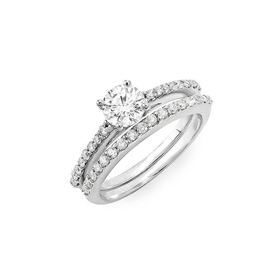 Dazzlingrock Collection 1.10 Carat (ctw) 14k White Gold Round White Diamond Ladies Bridal Engagement Ring Set