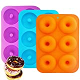 Silicone Donut Baking Pan, IHUIXINHE 6-Cavity Non-Stick, BPA Free Donut Mold, Dishwasher, Oven, Microwave, Freezer Safe (3 Pack)