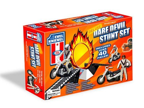 Evel Knievel Deluxe Dare Devil Cycle Stunt Set By Poof
