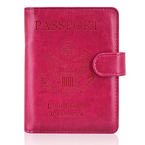 ACdream Leather Passport Holder [Bonus Stylus] Cover Case RFID Blocking Travel Wallet with Magnet Closure, Hot Pink