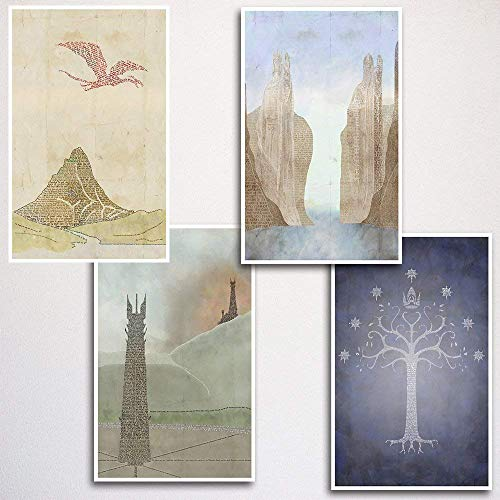 JRR Tolkien Word Art Print Four Set - 11x17