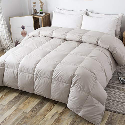 DOWNCOOL 100% Cotton Quilted Down Comforter with Corner Tabs - Gray Goose Duck Down Feather Filling - Lightweight and Medium Warmth Box Stitched All-Season Duvet Insert - Twin