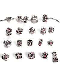 12pcs Antique Silver Rhinestone Charm Beads Fits Pandora Jewelry -with a Snake Chain Free