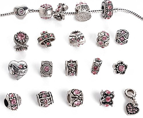 Yeshan 12pcs Antique Silver Crystal Rhinestone Birthstone Bead Charm Spacer with a Snake Chain Charm Bracelet - Spacer Chain