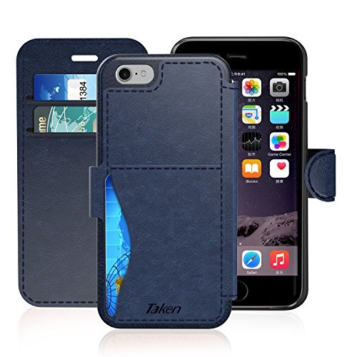 iPhone 8 / iPhone 7 Leather Wallet Case with Cards Slot and Metal Magnetic, Slim Fit and Heavy Duty, TAKEN Plastic Flip Case / Cover with Rubber Edge, for Women, Men, Boys, Girls, 4.7 Inch (Blue)