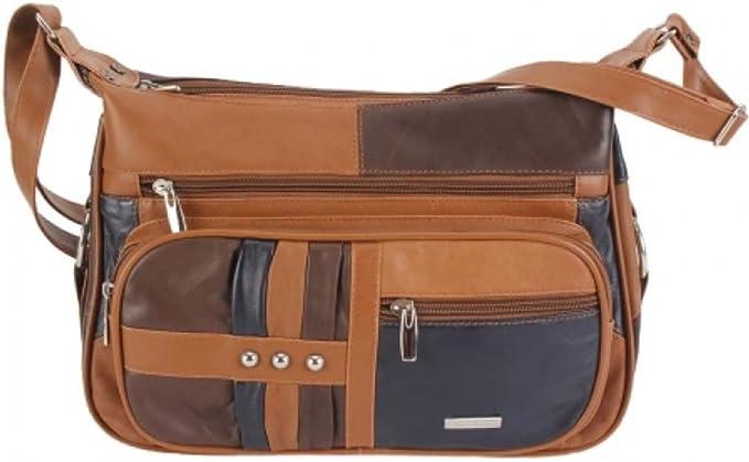New Ladies Genuine Real Soft Leather Patch Messenger Cross body Bag Handbag