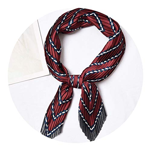 (Square Crinkle Silk Small Neck Scarf for Women,Stripe Burgundy)