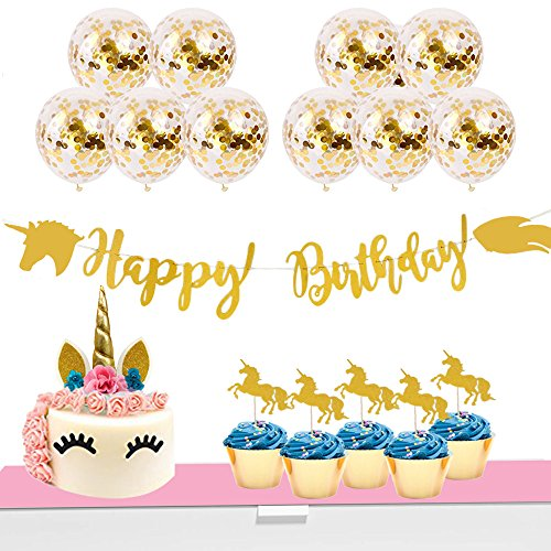 Unicorn Party Supplies Set - Cake Topper, Cupcake Toppers, Confetti Balloons, Glitter Banner, 1st Birthday Supplies Package, Gold Decor, Girls Decoration Kit, Toddler Princess Package - By Proud Baby