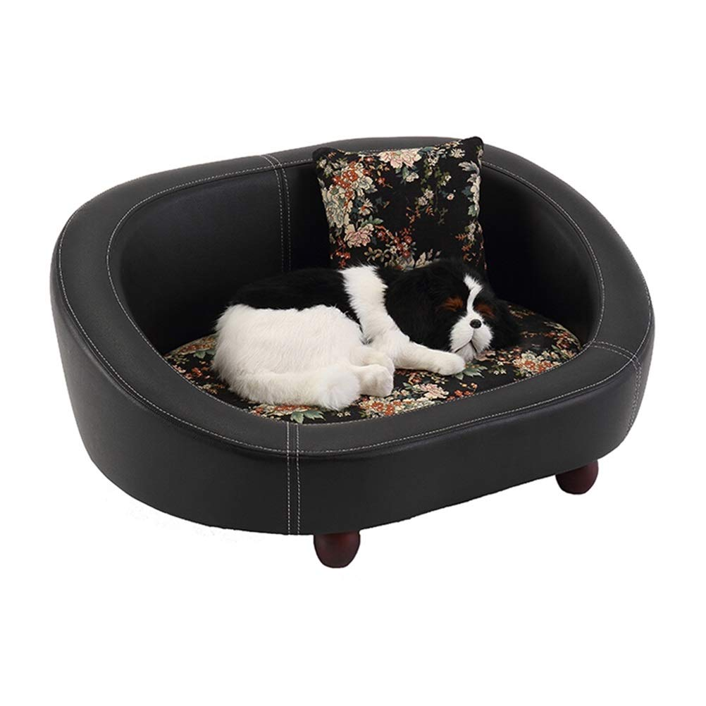 M Soft and Comfortable Leather pet Sand Black Pet Bed cat Dog Sofa Dog House Comfort bite Waterproof Luxury pet Bed Mattress Four Seasons Universal Pet cat Dog cave (color   M)