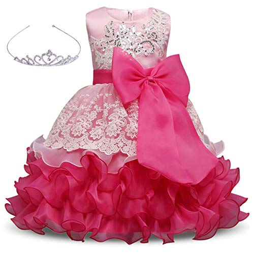 AiMiNa Girls Dress Bowknot Embroidered Princess Party Holiday Dresses with Accessories Age of 3-10 Years